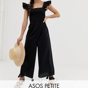 NWT ASOS Petite Black Ruffle Sleeves Jumpsuit
